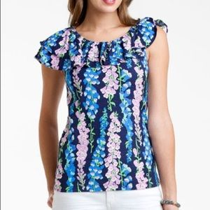 Lilly Pulitzer Blue Quincy Floral Ruffle Blouse